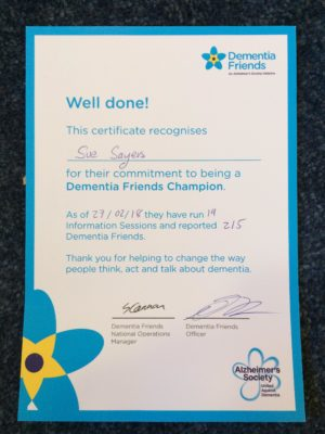 Dementia Friends certificate TDC Community Development